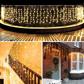 LED Lichtervorhang, 6m * 1m 300 Led PECCIDER 8 Modi Lichterkette Eisregen Vorhang strombetrieben,Lichterkette außen&innen, Hochzeit Weihnachten Party (Warmweiß) - 8