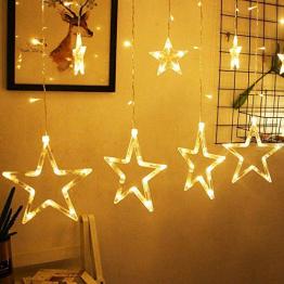 LED Lichtervorhang, Kaliwa Batteriebetriebe Lichterkette 138 LEDs Weihnachts Lichter mit 12 Sterne und LED Kugels, 2 Modi, IP44 Wasserdicht, ideal für Innenräume/Weihnachten/Partydeko (Warmweiß) - 1