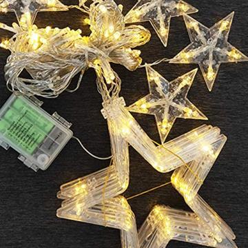 LED Lichtervorhang, Kaliwa Batteriebetriebe Lichterkette 138 LEDs Weihnachts Lichter mit 12 Sterne und LED Kugels, 2 Modi, IP44 Wasserdicht, ideal für Innenräume/Weihnachten/Partydeko (Warmweiß) - 7
