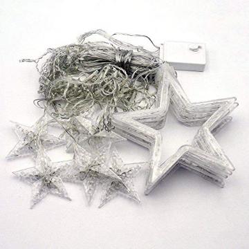 LED Lichtervorhang, Kaliwa Batteriebetriebe Lichterkette 138 LEDs Weihnachts Lichter mit 12 Sterne und LED Kugels, 2 Modi, IP44 Wasserdicht, ideal für Innenräume/Weihnachten/Partydeko (Warmweiß) - 8