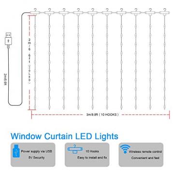 LED Lichtervorhang, Zorara 200 LEDs 3Mx2M USB Lichterkettenvorhang mit 8 Modi Fernbedien IP65 Wasserfest LELichterkette für Schlafzimmer Hochzeit Party Weihnachten Innen und außen Deko (Warmweiß) - 3