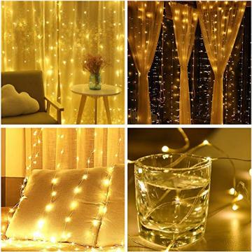LED Lichtervorhang, Zorara 200 LEDs 3Mx2M USB Lichterkettenvorhang mit 8 Modi Fernbedien IP65 Wasserfest LELichterkette für Schlafzimmer Hochzeit Party Weihnachten Innen und außen Deko (Warmweiß) - 4