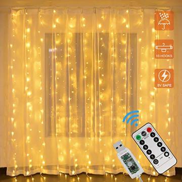 LED Lichtervorhang, Zorara 200 LEDs 3Mx2M USB Lichterkettenvorhang mit 8 Modi Fernbedien IP65 Wasserfest LELichterkette für Schlafzimmer Hochzeit Party Weihnachten Innen und außen Deko (Warmweiß) - 1