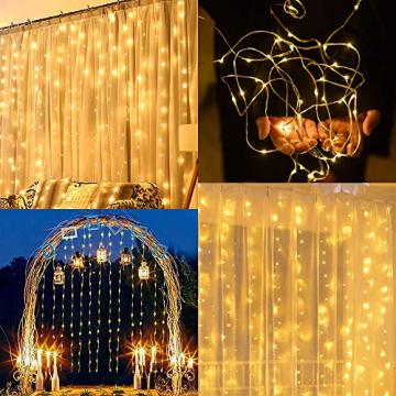 LED Lichtervorhang, Zorara 200 LEDs 3Mx2M USB Lichterkettenvorhang mit 8 Modi Fernbedien IP65 Wasserfest LELichterkette für Schlafzimmer Hochzeit Party Weihnachten Innen und außen Deko (Warmweiß) - 5
