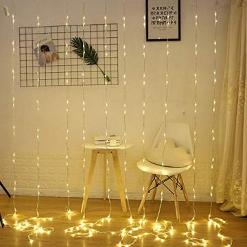 LED Lichtervorhang, Zorara 200 LEDs 3Mx2M USB Lichterkettenvorhang mit 8 Modi Fernbedien IP65 Wasserfest LELichterkette für Schlafzimmer Hochzeit Party Weihnachten Innen und außen Deko (Warmweiß) - 6