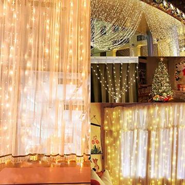 LED Lichtervorhang, Zorara 200 LEDs 3Mx2M USB Lichterkettenvorhang mit 8 Modi Fernbedien IP65 Wasserfest LELichterkette für Schlafzimmer Hochzeit Party Weihnachten Innen und außen Deko (Warmweiß) - 7