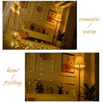 LED Lichtervorhang, Zorara 200 LEDs 3Mx2M USB Lichterkettenvorhang mit 8 Modi Fernbedien IP65 Wasserfest LELichterkette für Schlafzimmer Hochzeit Party Weihnachten Innen und außen Deko (Warmweiß) - 8