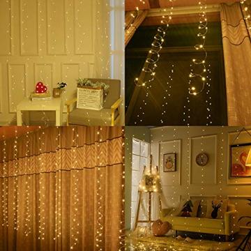 LED Lichtervorhang, Zorara 200 LEDs 3Mx2M USB Lichterkettenvorhang mit 8 Modi Fernbedien IP65 Wasserfest LELichterkette für Schlafzimmer Hochzeit Party Weihnachten Innen und außen Deko (Warmweiß) - 9