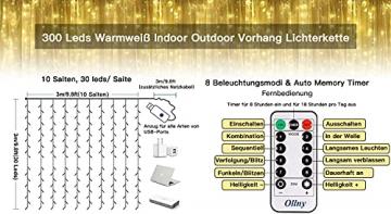 LED Lichtvorhang 3x3m, Ollny 300 LED Lichterkette Vorhang mit Fernbedienung & Timer 8 Modi Lichterkettenvorhang für Außen Innen Weihnachten Partydekoration Geburstag Hochzeit Fenster Zimmer, Warmweiß - 3