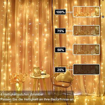 LED Lichtvorhang 3x3m, Ollny 300 LED Lichterkette Vorhang mit Fernbedienung & Timer 8 Modi Lichterkettenvorhang für Außen Innen Weihnachten Partydekoration Geburstag Hochzeit Fenster Zimmer, Warmweiß - 8