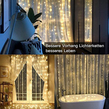 LED Lichtvorhang 3x3m, Ollny 300 LED Lichterkette Vorhang mit Fernbedienung & Timer 8 Modi Lichterkettenvorhang für Außen Innen Weihnachten Partydekoration Geburstag Hochzeit Fenster Zimmer, Warmweiß - 9