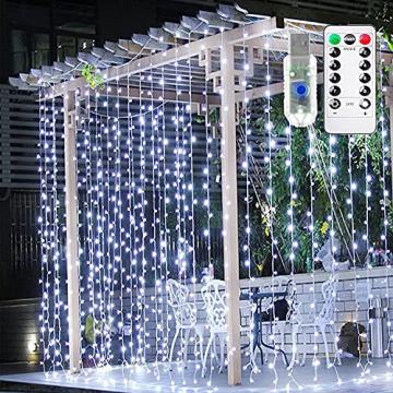 LED Lichtvorhang 3x3m, Ollny 300 LED Lichterkette Vorhang mit Fernbedienung & Timer 8 Modi Lichterkettenvorhang für Außen Innen Weihnachten Partydekoration Geburstag Hochzeit Fenster Zimmer, Kaltweiß - 1