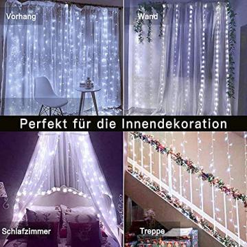 LED Lichtvorhang 3x3m, Ollny 300 LED Lichterkette Vorhang mit Fernbedienung & Timer 8 Modi Lichterkettenvorhang für Außen Innen Weihnachten Partydekoration Geburstag Hochzeit Fenster Zimmer, Kaltweiß - 5