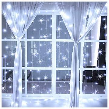 LED Lichtvorhang 3x3m, Ollny 300 LED Lichterkette Vorhang mit Fernbedienung & Timer 8 Modi Lichterkettenvorhang für Außen Innen Weihnachten Partydekoration Geburstag Hochzeit Fenster Zimmer, Kaltweiß - 8