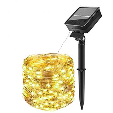 LED Solar Lichterketten Aussen, Weihnachtsbeleuchtung, 100 LED IP65 Wasserdicht 10M 32.8Ft 8 Modus Solar lichterkette Deko für Gärten, Balkon,Weihnachten,Terrasse, Hof, Party - 1