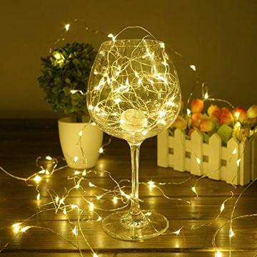 LED Solar Lichterketten Aussen, Weihnachtsbeleuchtung, 100 LED IP65 Wasserdicht 10M 32.8Ft 8 Modus Solar lichterkette Deko für Gärten, Balkon,Weihnachten,Terrasse, Hof, Party - 5