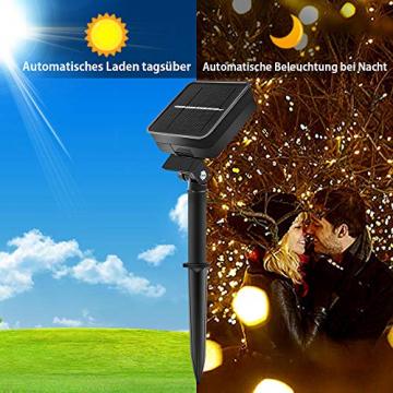LED Solar Lichterketten Aussen, Weihnachtsbeleuchtung, 100 LED IP65 Wasserdicht 10M 32.8Ft 8 Modus Solar lichterkette Deko für Gärten, Balkon,Weihnachten,Terrasse, Hof, Party - 6