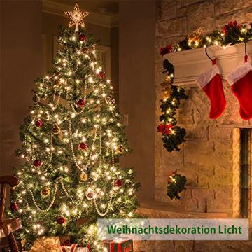 LED Solar Lichterketten Aussen, Weihnachtsbeleuchtung, 100 LED IP65 Wasserdicht 10M 32.8Ft 8 Modus Solar lichterkette Deko für Gärten, Balkon,Weihnachten,Terrasse, Hof, Party - 7