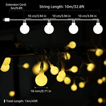 Lepro Lichterkette Kugeln 13M 100 LEDs, Partybeleuchtung Außen 8 Modi, ideale Strom Weihnachtsbeleuchtung für Innen Outdoor Balkon Garten Hochzeit Party Weihnachten Deko, Warmweiß Partylichterkette - 2