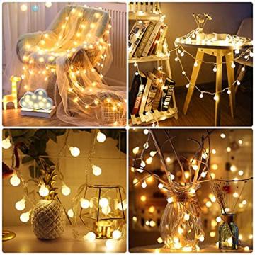Lepro Lichterkette Kugeln 13M 100 LEDs, Partybeleuchtung Außen 8 Modi, ideale Strom Weihnachtsbeleuchtung für Innen Outdoor Balkon Garten Hochzeit Party Weihnachten Deko, Warmweiß Partylichterkette - 5