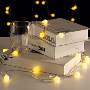 Lepro Lichterkette Kugeln 13M 100 LEDs, Partybeleuchtung Außen 8 Modi, ideale Strom Weihnachtsbeleuchtung für Innen Outdoor Balkon Garten Hochzeit Party Weihnachten Deko, Warmweiß Partylichterkette - 7