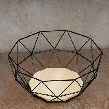 levandeo Korb Metall Schwarz 25x12cm Modern Holz MDF Braun Schüssel Schale Deko Design Tischdeko - 3