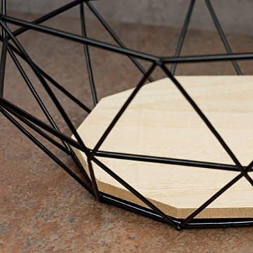 levandeo Korb Metall Schwarz 25x12cm Modern Holz MDF Braun Schüssel Schale Deko Design Tischdeko - 4