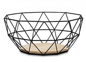 levandeo Korb Metall Schwarz 25x12cm Modern Holz MDF Braun Schüssel Schale Deko Design Tischdeko - 1