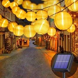 Lezonic Solar Lichterkette Lampion Außen, 8 Meter 30 LED Laternen 8 Modi Wasserdicht Solar Beleuchtung für Garten, Balkon, Hof, Hochzeit,Weihnachten,Party Deko (Warmweiß) - 1
