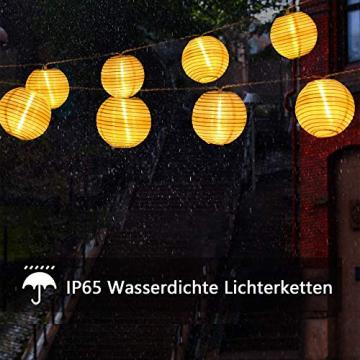 Lezonic Solar Lichterkette Lampion Außen, 8 Meter 30 LED Laternen 8 Modi Wasserdicht Solar Beleuchtung für Garten, Balkon, Hof, Hochzeit,Weihnachten,Party Deko (Warmweiß) - 4