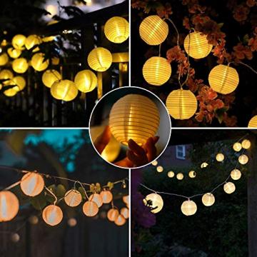 Lezonic Solar Lichterkette Lampion Außen, 8 Meter 30 LED Laternen 8 Modi Wasserdicht Solar Beleuchtung für Garten, Balkon, Hof, Hochzeit,Weihnachten,Party Deko (Warmweiß) - 5
