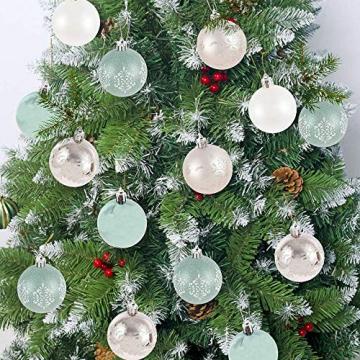 LICHENGTAI 30 Stück Weihnachtskugeln Weihnachtsdeko Set, 6 cm Kunststoff Weihnachtsbaumkugeln Box mit Aufhänger Christbaumkugeln Plastik Bruchsicher, Weihnachtsbaumschmuck für Festsdekoration - 2
