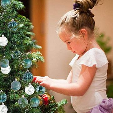 LICHENGTAI 30 Stück Weihnachtskugeln Weihnachtsdeko Set, 6 cm Kunststoff Weihnachtsbaumkugeln Box mit Aufhänger Christbaumkugeln Plastik Bruchsicher, Weihnachtsbaumschmuck für Festsdekoration - 4
