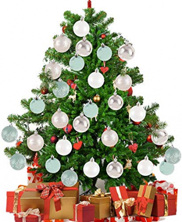 LICHENGTAI 30 Stück Weihnachtskugeln Weihnachtsdeko Set, 6 cm Kunststoff Weihnachtsbaumkugeln Box mit Aufhänger Christbaumkugeln Plastik Bruchsicher, Weihnachtsbaumschmuck für Festsdekoration - 6