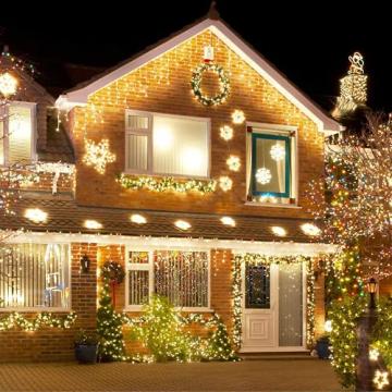 Lichterkette Außen, 12M 120 LED Lichterkette Weihnachten Netzkabel mit 8 Modi, Wasserdichte IP44 + IP65 für Weihnachtsbaum, Tannenbaum, Partys, Hochzeit Deko, Warmweiß - 2