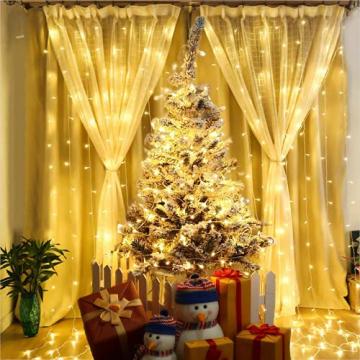 Lichterkette Außen, 12M 120 LED Lichterkette Weihnachten Netzkabel mit 8 Modi, Wasserdichte IP44 + IP65 für Weihnachtsbaum, Tannenbaum, Partys, Hochzeit Deko, Warmweiß - 5