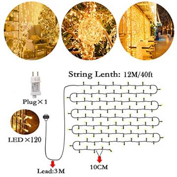 Lichterkette Außen, 12M 120 LED Lichterkette Weihnachten Netzkabel mit 8 Modi, Wasserdichte IP44 + IP65 für Weihnachtsbaum, Tannenbaum, Partys, Hochzeit Deko, Warmweiß - 6
