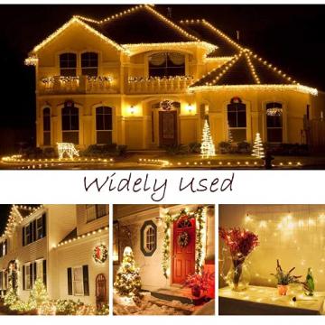 Lichterkette Außen, 12M 120 LED Lichterkette Weihnachten Netzkabel mit 8 Modi, Wasserdichte IP44 + IP65 für Weihnachtsbaum, Tannenbaum, Partys, Hochzeit Deko, Warmweiß - 7