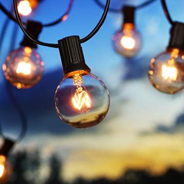 Lichterkette Außen G40 Glühbirnen BrizLabs 7.6M 25 + 2 Birnen Garten Lichterkette Aussen Glühlampen Wasserdicht Globe Beleuchtung für Innen Haus Balkon Patio Party Hochzeit Weihnachten, Warmweiß - 1