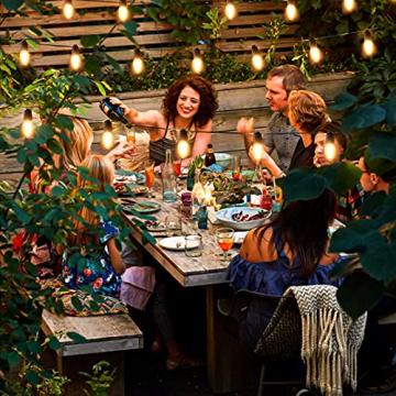 Lichterkette Außen GERMGENIE 15M 20x1W Dimmbare LED Glühbirnen Lichterkette Aussen Strom IP65 Wasserdicht mit Fernbedienung, Stecker, Timer, für Garten Balkon Outdoor Party Weihnachten, Warmweiß - 2