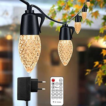 Lichterkette Außen GERMGENIE 15M 20x1W Dimmbare LED Glühbirnen Lichterkette Aussen Strom IP65 Wasserdicht mit Fernbedienung, Stecker, Timer, für Garten Balkon Outdoor Party Weihnachten, Warmweiß - 1