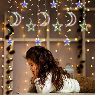 Lichterkette Bunt Sterne Mond, 3.5m*1.1m 8 Modi LED Fenster Lichterketten Vorhang Lichterkette für Zimmer Stimmungslichter ideale für Außenbeleuchtung und Innenbeleuchtung [Mehrfarbig] - 5