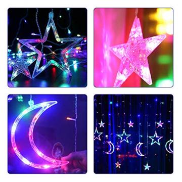 Lichterkette Bunt Sterne Mond, 3.5m*1.1m 8 Modi LED Fenster Lichterketten Vorhang Lichterkette für Zimmer Stimmungslichter ideale für Außenbeleuchtung und Innenbeleuchtung [Mehrfarbig] - 6