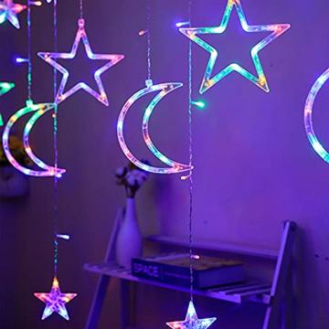 Lichterkette Bunt Sterne Mond, 3.5m*1.1m 8 Modi LED Fenster Lichterketten Vorhang Lichterkette für Zimmer Stimmungslichter ideale für Außenbeleuchtung und Innenbeleuchtung [Mehrfarbig] - 7