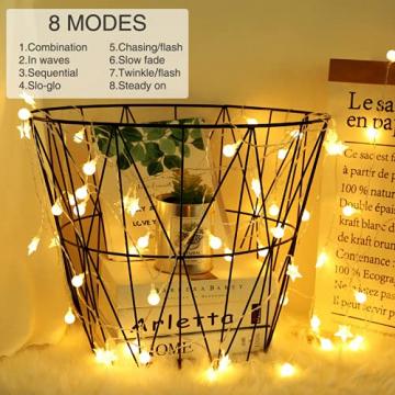 Lichterkette Innen, Litogo 120 LED Lichterkette Kugeln mit EU Stecker Dimmbar 8 Modi Wasserdichte 12M LED Lichterkette Außen Ideale Party Deko, Kinderzimmer, Balkon, Weihnachtsbeleuchtung Warmweiß - 2