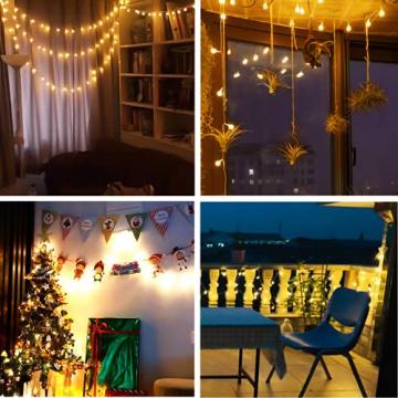 Lichterkette Innen, Litogo 120 LED Lichterkette Kugeln mit EU Stecker Dimmbar 8 Modi Wasserdichte 12M LED Lichterkette Außen Ideale Party Deko, Kinderzimmer, Balkon, Weihnachtsbeleuchtung Warmweiß - 4