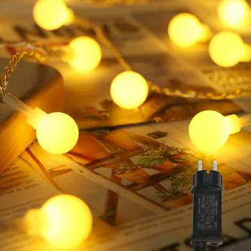 Lichterkette Innen, Litogo 120 LED Lichterkette Kugeln mit EU Stecker Dimmbar 8 Modi Wasserdichte 12M LED Lichterkette Außen Ideale Party Deko, Kinderzimmer, Balkon, Weihnachtsbeleuchtung Warmweiß - 1