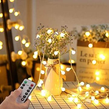Lichterkette Kugeln, Koopower 100er LED 11M USB Strombetrieben Lichterketten Globe mit Stecker 8 Modus Timer Lichterkette Dimmbar mit Fernbedienung Wasserdicht Beleuchtung für Innen Decor Warmweiß - 3