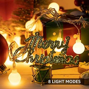Lichterkette Kugeln, Koopower 100er LED 11M USB Strombetrieben Lichterketten Globe mit Stecker 8 Modus Timer Lichterkette Dimmbar mit Fernbedienung Wasserdicht Beleuchtung für Innen Decor Warmweiß - 7
