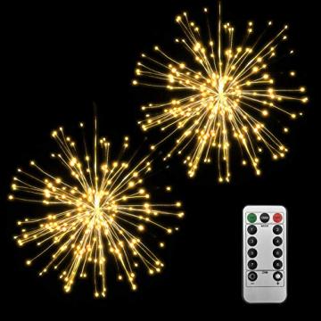 Lixada Feuerwerk LED Licht, 150 LEDs Weihnachten Lichterketten mit Fernbedienung dekorative hängende Starburst Lampe für Indoor Outdoor Home Parties Hochzeit Hofgarten (2 Stück) - 1